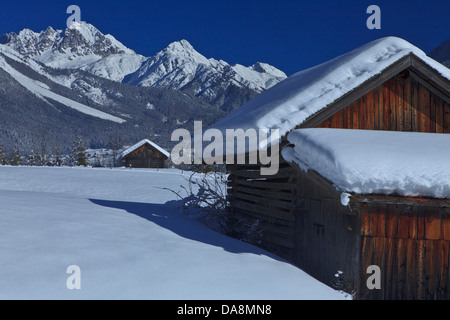 Austria, Europe, Tyrol, Gurgltal, Nassereith, Stadel, winter, snow, mountains, Mieminger chain, Griesspitze, sky, - Stock Photo
