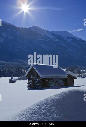 Austria, Europe, Tyrol, Gurgltal, Nassereith, winter, scenery, Stadel, hay barn, mountains, Tschirgant, sky, high, - Stock Photo