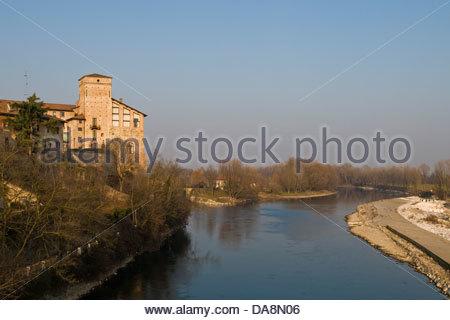 Borromeo castle,Cassano d'Adda,Lombardy,Italy - Stock Photo