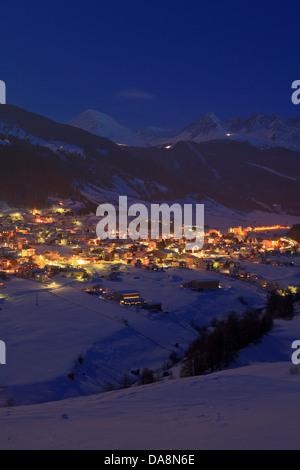 Austria, Europe, Tyrol, uplands, Oberes Gericht, Reschenpass Nauders, border, winter, evening, winter evening, night, - Stock Photo