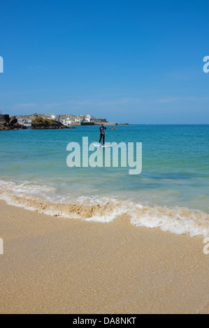 Portminster Beach activity at St Ives in Cornwall - Stock Photo