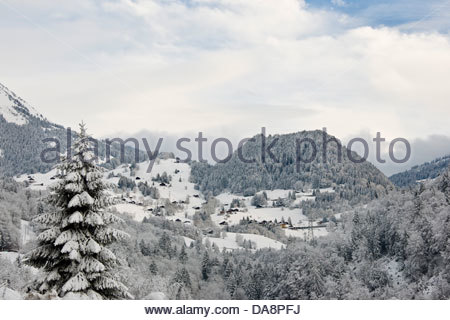 Surrounding of Chateau d'Oex,Switzerland - Stock Photo