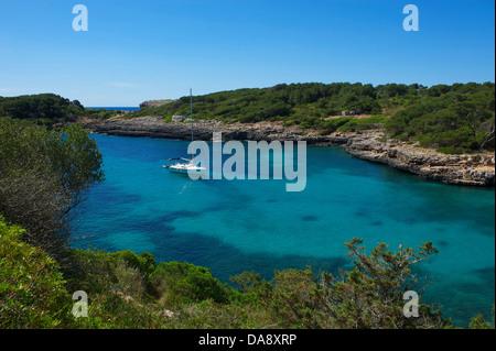 Balearic Islands, Majorca, Mallorca, Spain, Europe, outside, Cala Sa Nau, coast, seashore, coasts, seashores, coastal - Stock Photo