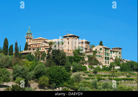 Balearic Islands, Majorca, Mallorca, Spain, Europe, outside, Valldemossa, Valldemosa, town view, day, nobody, - Stock Photo