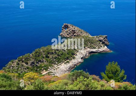 Balearic Islands, Majorca, Mallorca, Spain, Europe, outside, Punta de sa Foradada, coast, seashore, coasts, seashores, - Stock Photo