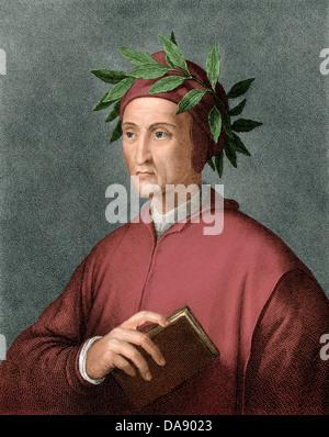 Dante Alighieri, Renaissance poet. Digitally colored engraving - Stock Photo