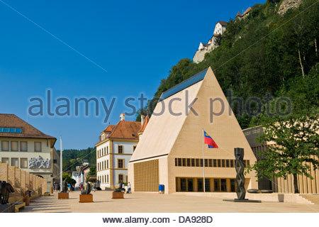 Liechtenstein,Vaduz,Fürstentum building,Parliament - Stock Photo