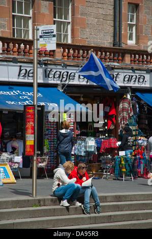 Tourists Lawnmarket street Royal Mile old town Edinburgh Scotland Britain UK Europe - Stock Photo