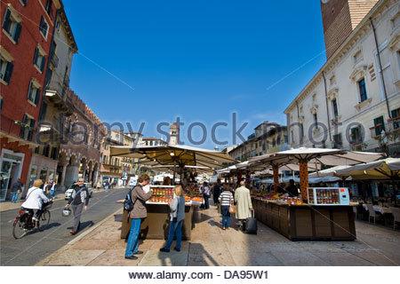 Piazza delle Erbe,Verona,Veneto,Italy - Stock Photo