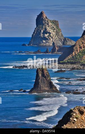 Spain, Europe, Canary Islands, Roques de Anaga, Tenerife Island, Tenerife, Teneriffa, cliff, coast, Taganana, red, - Stock Photo