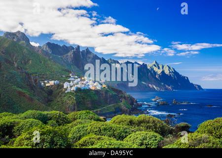Almaciga, Canary Islands, Canaries, Taganana, Taganana Coast, Tenerife, Teneriffa, blue, cliff, coast, island, mountain, - Stock Photo