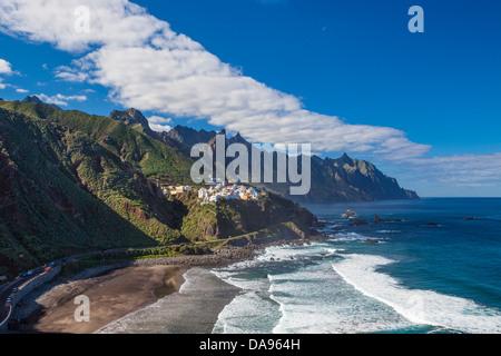 Almaciga, Canary Islands, Canaries, Taganana, Taganana Coast, Tenerife Island, Tenerife, Teneriffa, beach, blue, - Stock Photo