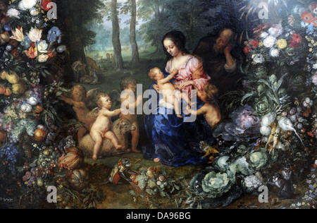 Jan Brueghel the Elder (1568-1625) and Pieter van Avont (1600-1632). Holy Family on a garland of flowers and flowers - Stock Photo