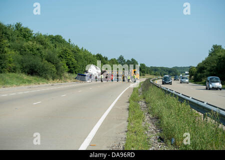 Margaretting, Essex, UK.  8th July, 2013. The A12, one of the main routes through Essex, UK was closed for several - Stock Photo