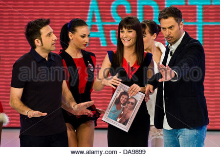 Telecast 'Quelli che il calcio'. RAI 2. Milan 2012. Victoria Cabello and Trio Medusa - Stock Photo