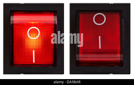 Power switch turned on and off set isolated - Stock Photo