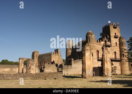 Ethiopia, Africa, Amhara, region, Gondar, Gonder, Fasiliades castle, Fasilides castle, castle, Fasil Ghebbi, Camelot - Stock Photo
