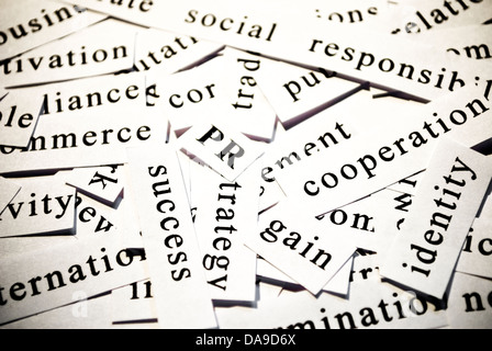 PR or public relations. Concept of cut-out words related with business activity.