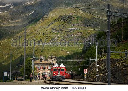 Switzerland,Canton Grisons,Bernina express,Alp Grum railway station - Stock Photo