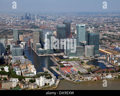 aerial view of Canary Wharf, Docklands, London, UK - Stock Photo