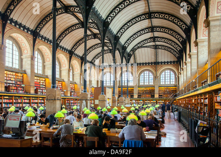 Full seats at the Bibliotheque Sainte Genevieve - public library in the Latin Quarter, Paris France - Stock Photo