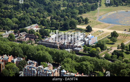 aerial view of Kensington Palace in Hyde Park, London W8 - Stock Photo