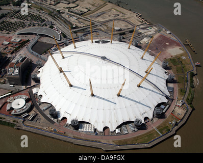 aerial view of the O2 Arena, Millennium Dome, London - Stock Photo