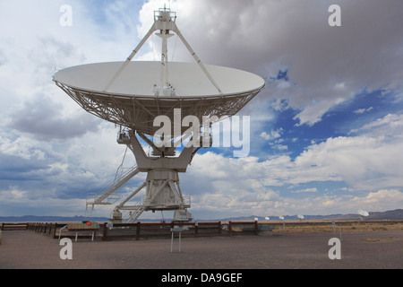 The Carl Janski Very Large Array near Socorro, New Mexico, tucked away in the Magdalena Mountains. - Stock Photo