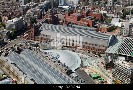 aerial view of St Pancras Station and Kings Cross Station, in London, - Stock Photo