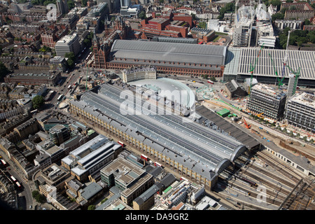 aerial view of St Pancras Station and Kings Cross Station, in London - Stock Photo