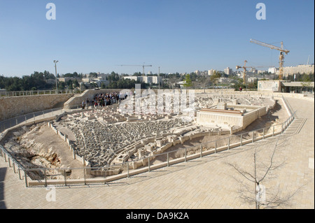 Visitor, Israel, Israel museum, Jerusalem, model, copy, reproduction, Middle East, Near East, miniature, town, city, - Stock Photo