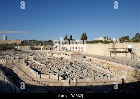 Israel, Israel museum, Jerusalem, model, copy, reproduction, Middle East, Near East, miniature, town, city, - Stock Photo
