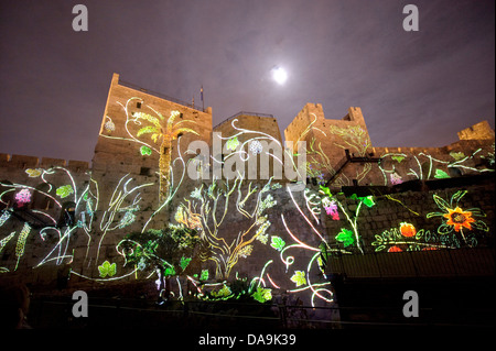 Fortress, Israel, Jerusalem, light show, at night, Middle East, Near East, tower, David, Tower of David, museum - Stock Photo