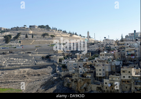 Cemetery, Israel, Jerusalem, Middle East, Near East, Mount of Olives, hill, houses, homes, - Stock Photo