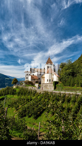 Italy, Europe, Südtirol, South Tyrol, Upper Adige, Alto Adige, village, Tirol, Tirolo, Saint Peter church, church, - Stock Photo