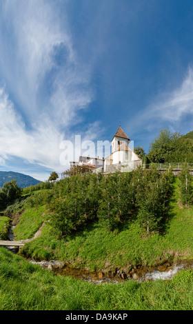 Italy, Europe, Südtirol, South Tyrol, Upper Adige, Alto Adige, village, Tirol, Tirolo, Saint Peter, church, monastery, - Stock Photo