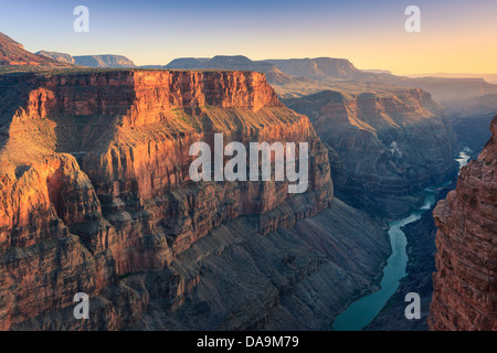 Sunset at Grand Canyon N.P North Rim with the view from Toroweap, Arizona, USA - Stock Photo