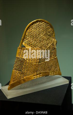 6th Century Silla Dynasty Golden Cap, Gyeongju National Museum, South Korea - Stock Photo