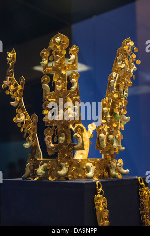 Cheonmachong 6th Century Silla Dynasty Golden Crown on display in the Gyeongju National Museum, Busan, South Korea - Stock Photo