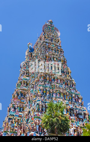 India, South India, Asia, Tamil Nadu, Madurai, Sri Meenakshi, Temple, Gopuram, art, big, famous, colourful, Dravidian, - Stock Photo