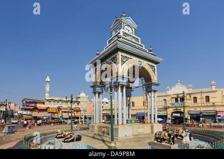 India, South India, Asia, Karnataka, Mysore, Little clock tower, Devaraja Market, Devaraja, clock, arch, architecture, - Stock Photo