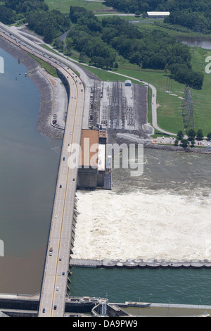 Aerial view of the Chickamauga dam, looking southeast.  The Tennessee River is at flood stage. - Stock Photo