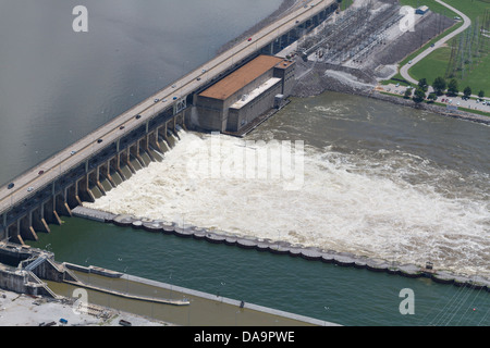 Aerial view of the Chickamauga dam, looking east.  The Tennessee River is at flood stage. - Stock Photo