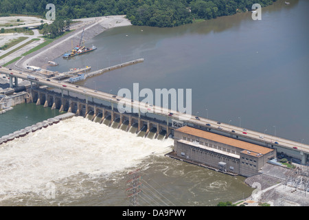 Aerial view of the Chickamauga dam, looking north.  The Tennessee River is at flood stage. - Stock Photo