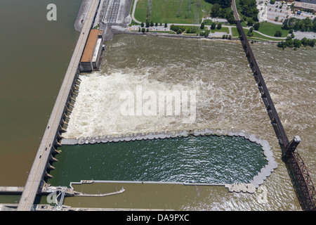 Aerial view of the Chickamauga dam and a railroad bridge, looking southeast.  The Tennessee River is at flood stage. - Stock Photo