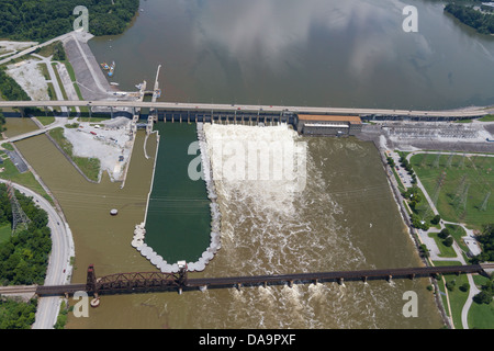 Aerial view of the Chickamauga dam and a railroad bridge, looking northeast.  The Tennessee River is at flood stage. - Stock Photo