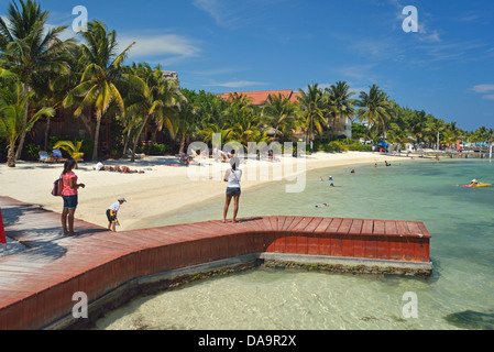 San Pedro, Central America, Belize, Ambergris, caye, island, tropical, Caribbean, beach - Stock Photo