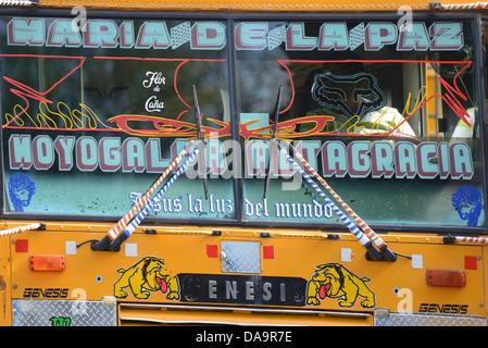 Central America, Nicaragua, Rivas, Moyogalpa, Isla Ometepe, bus, detail, - Stock Photo