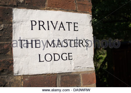 Sign on Jesus Lane, Private, The Master's Lodge - Stock Photo