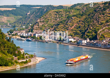 Container ship, freighter, Germany, Europe, Goarshausen, Loreley, rock, Rhine Valley, Rhineland Palatinate, Rhine, - Stock Photo